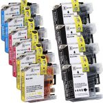 Brother Compatible LC107 and LC105 Bulk Set of 10 Super High Yield XXL Ink cartridges: 4 Black & 2 each of Cyan / Magenta / Yellow