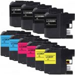 Brother Compatible LC203 XL (Color Set of 10) High Yield Ink cartridge: 4 Black, 2 Cyan, 2 Magenta, 2 Yellow