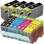 Canon New Compatible Combo-Pack of 12 (4 Black BCI-3eBk, 2 Black BCI-6BK, 2 Cyan BCI-6C, 2 Magenta BCI-6M, 2 Yellow BCI-6Y) Inkjet Cartridge for Canon i860, Pixma iP4000, iP5000, MP750 and MP780 Printers