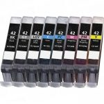Compatible Canon CLI-42 (Set of 8) Ink Cartridge for Pixma Pro-100 Printer: 1 each of CLI-42BK, CLI-42C, CLI-42M, CLI-42Y, CLI-42PC, CLI-42PM, CLI-42GY & CLI-42LGY