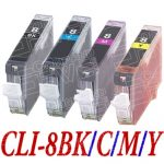 (With Chip) New Compatible Canon CLI8 Series (CLI-8BK/C/M/Y Bulk Set of 4 Packs) High Capacity Inkjet Cartridge for Pixma Printers