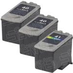 Canon PG-40 (PG40) CL-41 (CL41) Black & Tri-Color Bulk Set of 3 Replacement Inkjet Cartridge