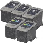 Canon PG-40 (PG40) CL-41 (CL41) Black & Tri-Color Bulk Set of 5 Replacement Inkjet Cartridge