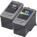 Canon PG-50 PG50 CL-51 CL51 High Capacity Black & Tri-Color Bulk Set of 2 Replacement Inkjet Cartridge