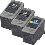 Canon PG-50 PG50 CL-51 CL51 High Capacity Black & Tri-Color Bulk Set of 3 Replacement Inkjet Cartridge
