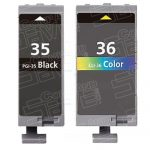 (With Chip) New Compatible Canon PGI35 CLI36 Series (PGI-35 CLI-36 Bulk Set of 2 Packs) Black & Color High Capacity Inkjet Cartridge for Pixma Printers