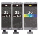 (With Chip) New Compatible Canon PGI35 CLI36 Series (PGI-35 CLI-36 Bulk Set of 3 Packs) Black & Color High Capacity Inkjet Cartridge for Pixma Printers