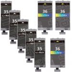 (With Chip) New Compatible Canon PGI35 CLI36 Series (PGI-35 CLI-36 Bulk Set of 8 Packs) Black & Color High Capacity Inkjet Cartridge for Pixma Printers