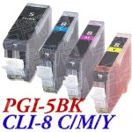 (With Chip) New Compatible Canon PGI5 CLI8 Series (PGI-5BK CLI-8C/M/Y Bulk Set of 4 Packs) High Capacity Inkjet Cartridge for Pixma Printers