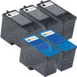 Replacement for Dell M4640 / M4646 (Series 5) Bulk Set of 5 High Capacity Black & Color Inkjet Cartridge