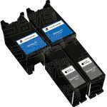 Compatible (Series 21) Y498D Black & Y499D Color (Bulk Set of 4-Pack) Ink Cartridges for Dell V313 Printers