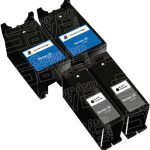 Compatible (Series 22) T091N Black & T092N Color (Set of 4-Pack) High Yield Ink Cartridge for Dell P513, V313 Printers