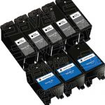 Compatible (Series 24) T109N Black & T110N Color (Set of 8-Pack) High Yield Ink Cartridge for Dell P713, V715 Printers