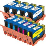 Compatible (Series 33 / 34) Bulk Set of 10 Extra High Yield Ink Cartridge for Dell V525w & V725w Printers: 4 Black, 2 Cyan, 2 Magenta & 2 Yellow