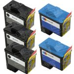 Replacement for Dell Black T0529 and Color T0530 (Series 1) Bulk Set of 5 Inkjet Cartridges for Dell 720 A920 All-In-One Printers