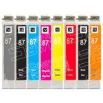 Remanufactured Epson 87 Series (T087 Bulk Set of 8 Packs) High Capacity Inkjet Cartridge for Stylus Photo R1900 Printer