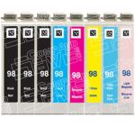 Remanufactured Epson 98/99 Series (T098/T099 Bulk Set of 8 Packs) High Capacity Inkjet Cartridges for Artisan 700 800 Printers