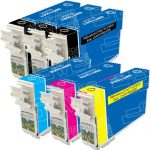 Remanufactured Epson #124 Bulk Set of 6-Pack Moderate Yield Ink Cartridges: 3 Black (T124120), 1 Cyan (T124220), 1 Magenta (T124320) & 1 Yellow (T124420)