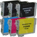 Remanufactured Epson #125 Bulk Set of 6-Pack Standard Yield Ink Cartridges: 3 Black (T125120), 1 Cyan (T125220), 1 Magenta (T125320) & 1 Yellow (T125420)