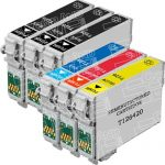 Remanufactured Epson #126 Bulk Set of 6-Pack High Yield Ink Cartridges: 3 Black (T126120), 1 Cyan (T126220), 1 Magenta (T126320) & 1 Yellow (T126420)