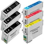 Remanufactured Epson #127 Bulk Set of 6-Pack Extra High Yield Ink Cartridges: 3 Black (T127120), 1 Cyan (T127220), 1 Magenta (T127320) & 1 Yellow (T127420)