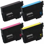 Remanufactured Epson #200XL T200XL (Bulk Set of 4) High Yield Ink Cartridges:  1 Black (T200XL120), 1 Cyan (T200XL220), 1 Magenta (T200XL320), 1 Yellow (T200XL420)