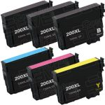 Remanufactured Epson #200XL T200XL (Bulk Set of 6) High Yield Ink Cartridges:  3 Black (T200XL120), 1 Cyan (T200XL220), 1 Magenta (T200XL320), 1 Yellow (T200XL420)