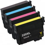 Remanufactured Epson #220XL / T220XL- (Combo Pack of 4) High Yield Ink Cartridge: 1 Black, 1 Cyan, 1 Magenta, 1 Yellow