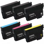 Remanufactured Epson #220XL / T220XL- (Combo Pack of 6) High Yield Ink Cartridge: 3 Black, 1 Cyan, 1 Magenta, 1 Yellow