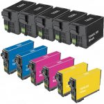 Remanufactured Epson #252XL T252XL (Set of 11) High Yield Ink Cartridge: 5 Black (T252XL120) & 2 each of Cyan (T252XL220), Magenta (T252XL320) & Yellow (T252XL420)