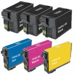 Remanufactured Epson #252XL T252XL (Set of 6) High Yield Ink Cartridge: 3 Black (T252XL120) & 1 each of Cyan (T252XL220), Magenta (T252XL320) & Yellow (T252XL420)