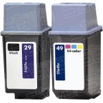 Hewlett Packard HP 29 (51629A) Black & HP 49 (51649A) Tri-Color (Combo-Pack of 2) Replacement Ink Cartridge