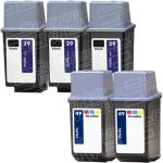 Hewlett Packard HP 29 (51629A) 3-PK Black & HP 49 (51649A) 2-PK Tri-Color (Combo-Pack of 5) Replacement Ink Cartridge