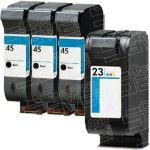 Hewlett Packard HP 45 Black (51645A) & HP 23 Tri Color (C1823D) Combo-Pack of 4 Replacement Ink Cartridge