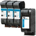 Hewlett Packard HP 45 Black (51645A) & HP 78 Tri Color (C6578DN / C6578D) Combo-Pack of 4 Replacement Ink Cartridge