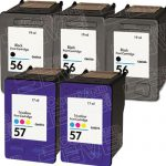Hewlett Packard (HP) C6656AN Black & C6657AN Tri Color (HP 56 HP 57 Combo Pack of 5) Replacement Ink Cartridge