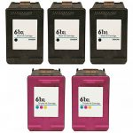 Hewlett Packard (HP 61XL Combo Pack of 5) CH563WN Black & CH564WN Color High Yield Replacement Ink Cartridge