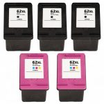 Replacement for Hewlett Packard HP 62XL (Combo Pack of 5) Ink Cartridges:  3 Black (C2P05AN), 2 Color (C2P07AN)