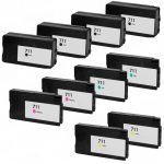 Replacement for Hewlett Packard HP 711 (Bulk Set of 10) Ink Cartridges: 4 High Yield Black CZ133A, 2 each of Cyan CZ130A, Magenta CZ131A & Yellow CZ132A.