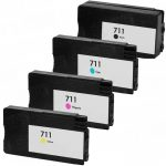 Replacement for Hewlett Packard HP 711 (Bulk Set of 4) Ink Cartridges: 1 each of Black CZ133A, Cyan CZ130A, Magenta CZ131A & Yellow CZ132A.