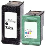 Hewlett Packard HP 74XL (CB336WN) HP 75XL (CB338WN) Combo-Pack of 2 Replacement High Yield Black & Color Printer Ink Cartridge