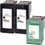 Hewlett Packard HP 74XL (CB336WN) & HP 75XL (CB338WN) Combo-Pack of 3 Replacement High Yield 2-PK Black & 1-PK Color Printer Ink Cartridge