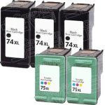 Hewlett Packard HP 74XL (CB336WN) HP 75XL (CB338WN) Combo-Pack of 5 Replacement High Yield 3-PK Black & 2-PK Color Ink Cartridge