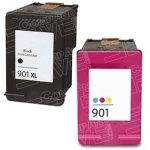 Replacement for Hewlett Packard HP 901XL Bulk Set of 2 Packs High Yield Black & Tri-Color Inkjet Cartridge