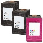 Replacement for Hewlett Packard HP 901XL Bulk Set of 3 Packs High Yield Black & Tri-Color Inkjet Cartridge