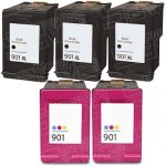 Replacement for Hewlett Packard HP 901XL Bulk Set of 5 Packs High Yield Black & Tri-Color Inkjet Cartridge