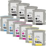 Replacement for Hewlett Packard HP 940XL Combo-Pack of 10 (4 Black, 2 Cyan, 2 Magenta, 2 Yellow) High Yield Ink Cartridges with working Ink Indicator Chips