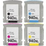 Replacement for Hewlett Packard HP 940XL Combo-Pack of 4 (1 Black, 1 Cyan, 1 Magenta, 1 Yellow) High Yield Ink Cartridges with working Ink Indicator Chips