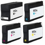 Replacement for Hewlett Packard HP 950XL 951XL Combo-Pack of 4 (CN045AN Black, CN046AN Cyan, CN047AN Magenta, & CN048AN Yellow) High Yield Ink Cartridge