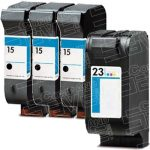 Hewlett Packard HP 15 Black (C6615DN / C6615D) & HP 23 Tri Color (C1823D) Combo Pack of 4 Replacement Ink Cartridge